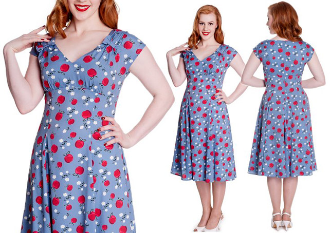 Sheila Blue Apple Daisy Print Dress by Hell Bunny