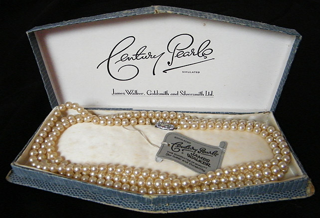 Pearl necklace inside box