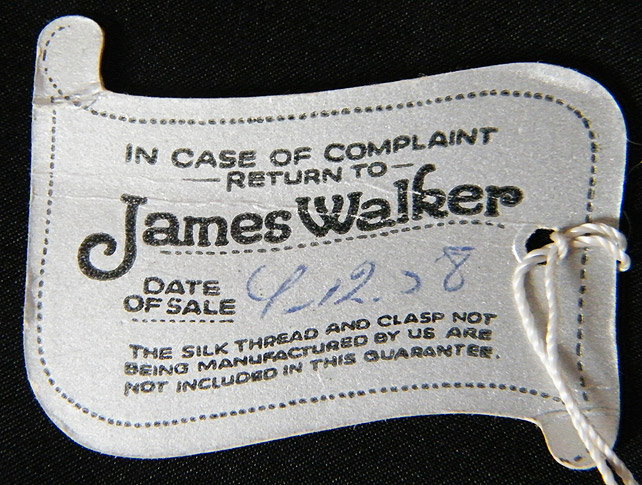 James Walker label back