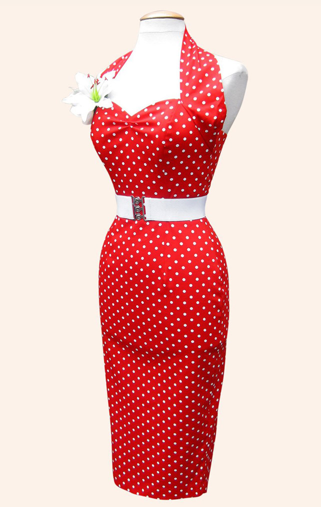 Halterneck Pencil Red White Spot Dress - Vivien of Holloway