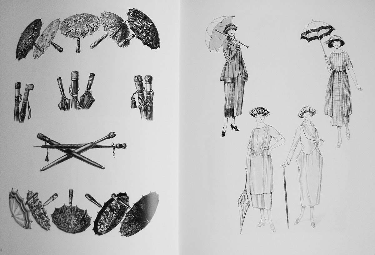 1920s umbrellas illustration