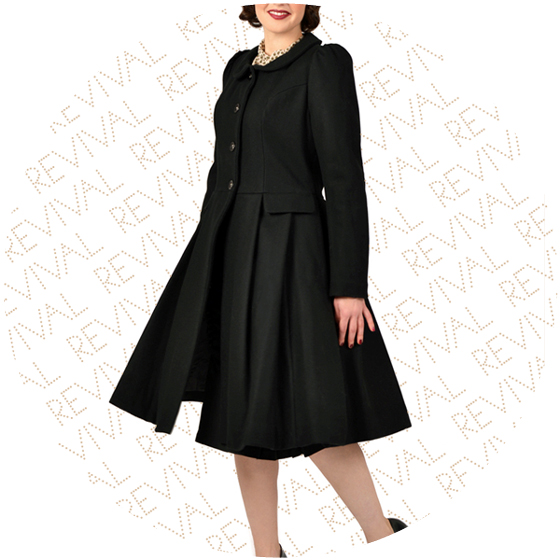Vintage Style Swing Coat Black from Revival Retro
