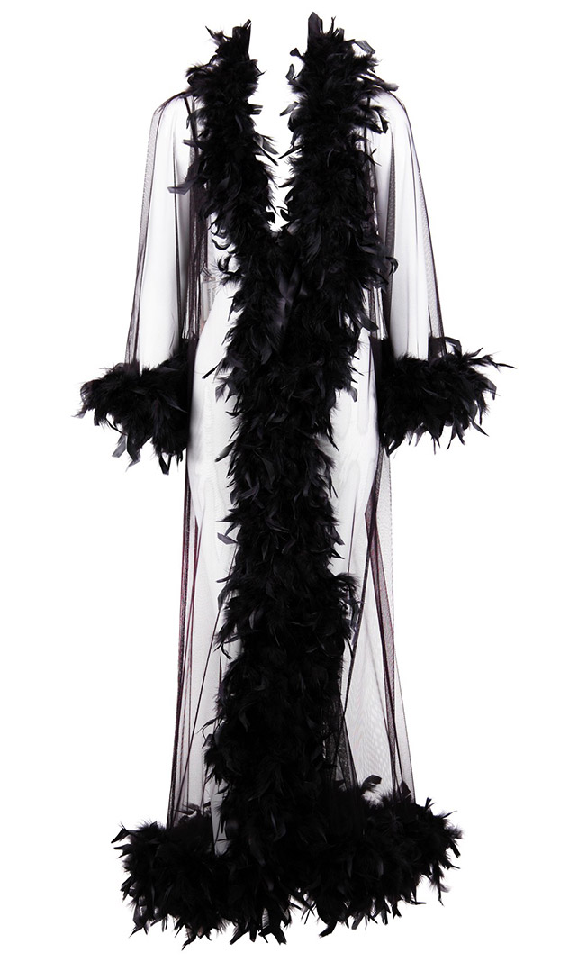 Folies de Renaud Boudoir Black Feathered Robe