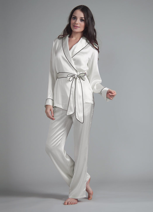 Fold-Over Trim Silk Pyjama Set - Narasilk