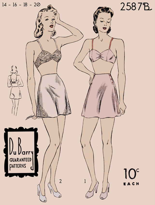 1940s Du Barry bra and tap pants pattern
