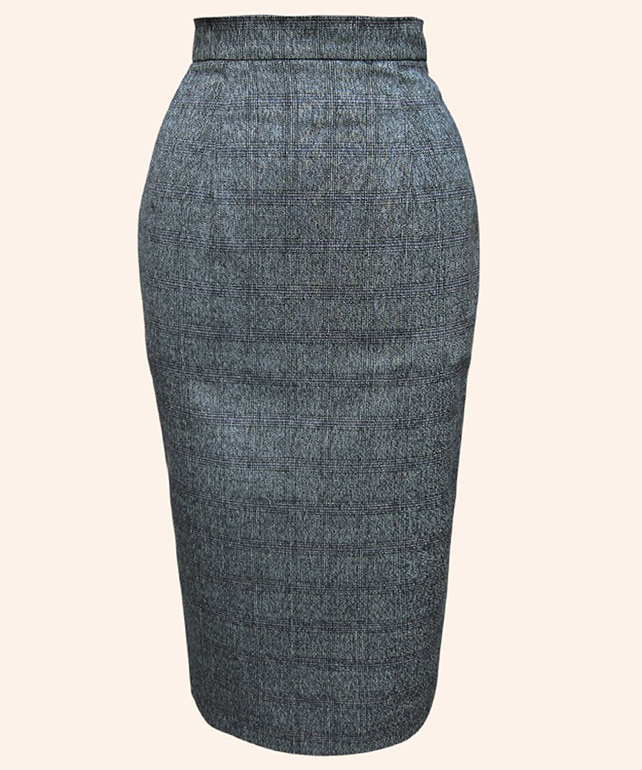 Prince of Wales check pencil skirt