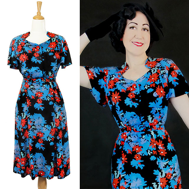 Darla 1940s style dress in black floral