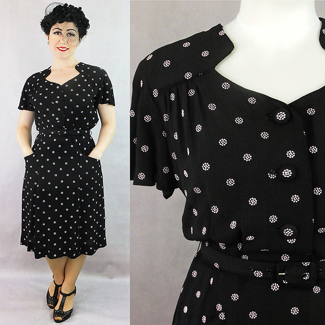 Darla 1940s style dress in black with pink spots