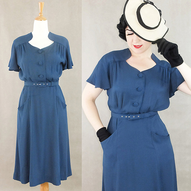 Darla 1940s style dress in blue