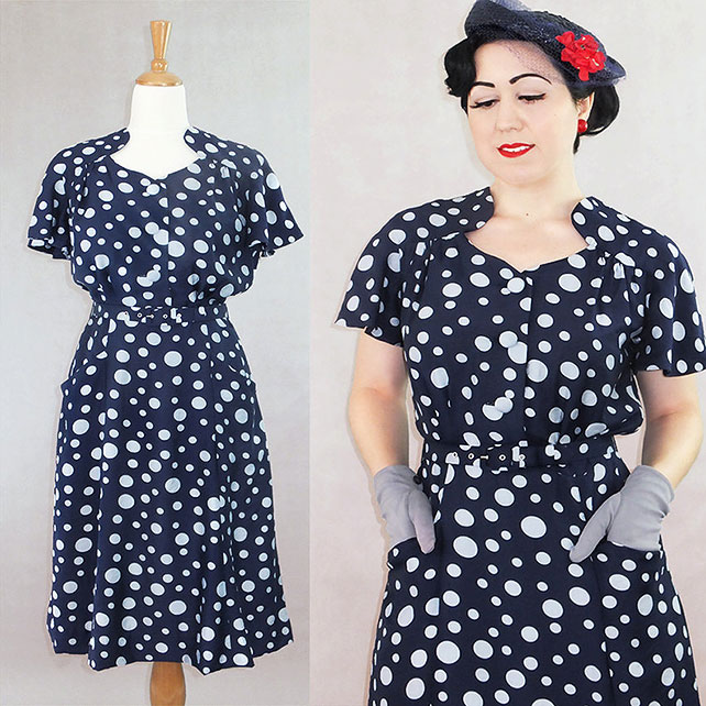 Darla 1940s style dress in navy and white spots