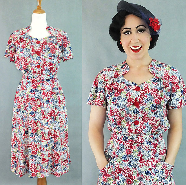 Darla 1940s style dress in red and blue floral