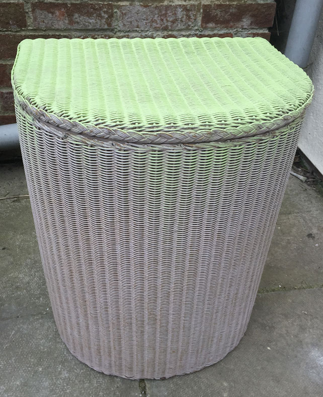 Respraying Lloyd Loom laundry basket