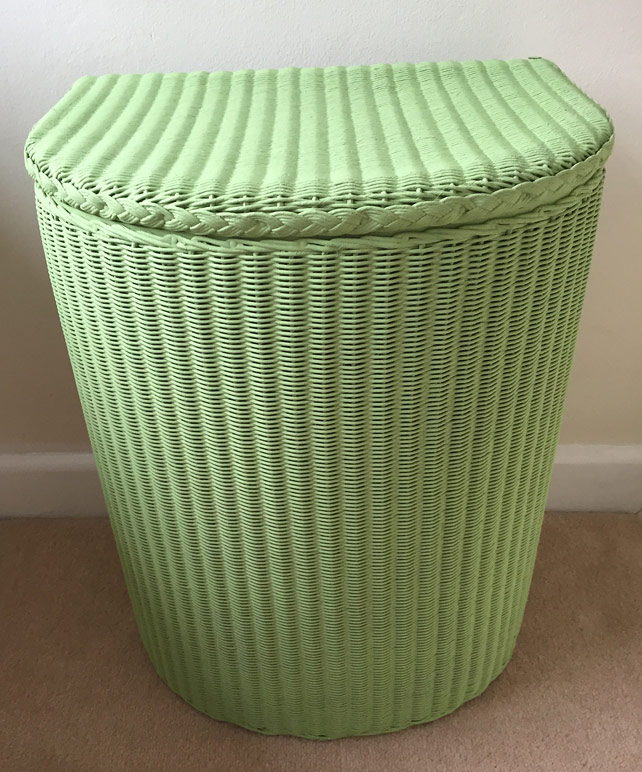 Painted Lloyd Loom laundry basket