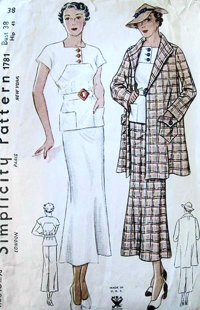 Simplicity 1781 1930s sewing pattern