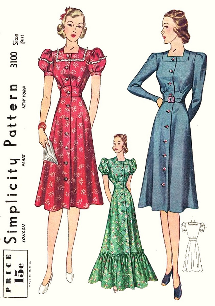 Simplicity 3100 1930s sewing pattern