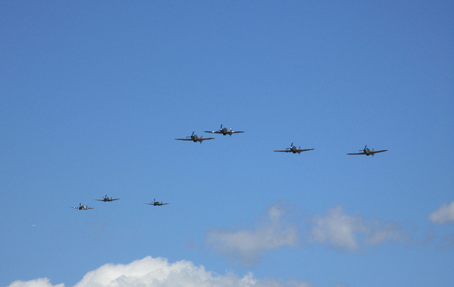 Spitfires Approaching RIAT 2015