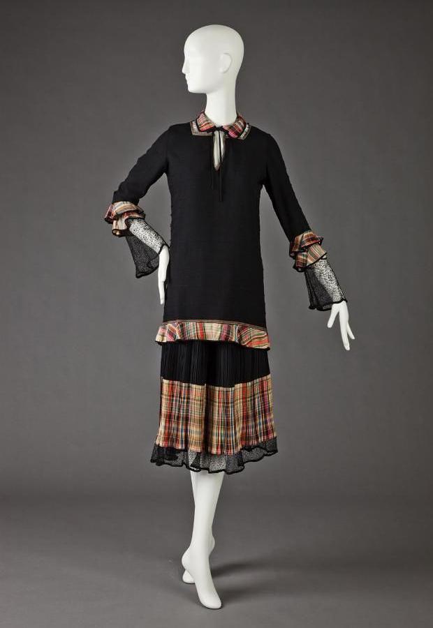 1920s black day dress