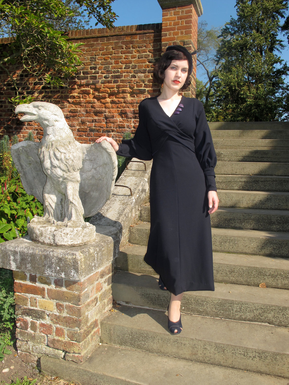 1930s wool crepe dress