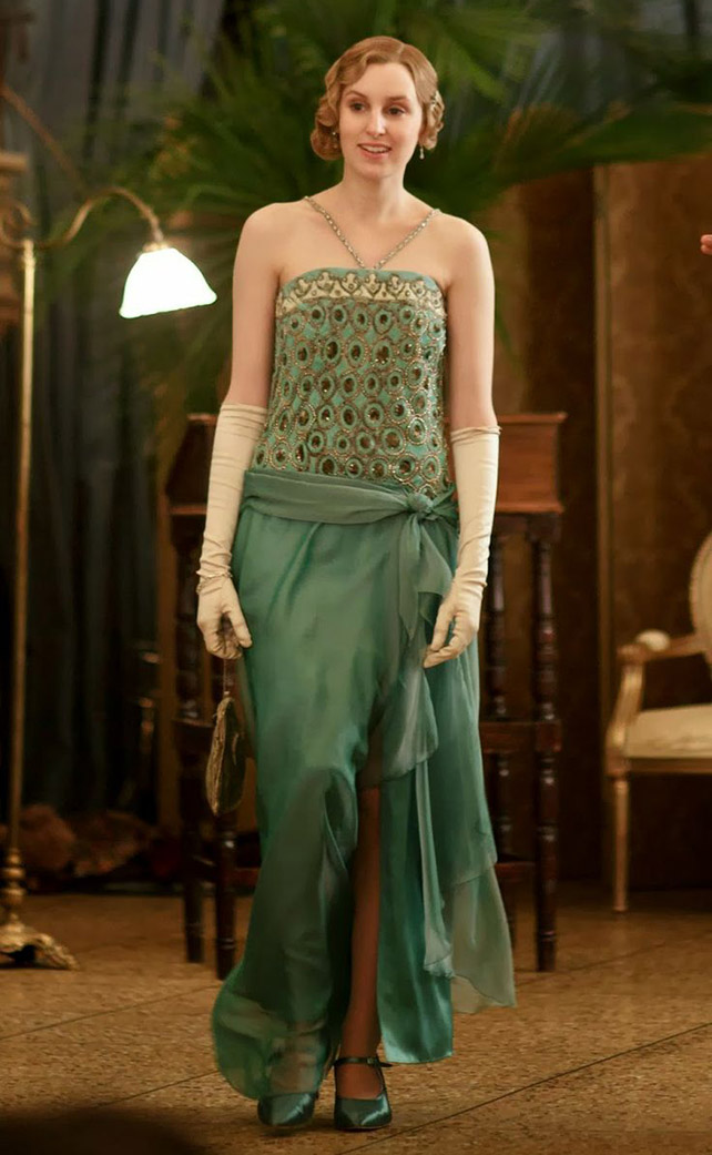 Lady Edith green evening gown