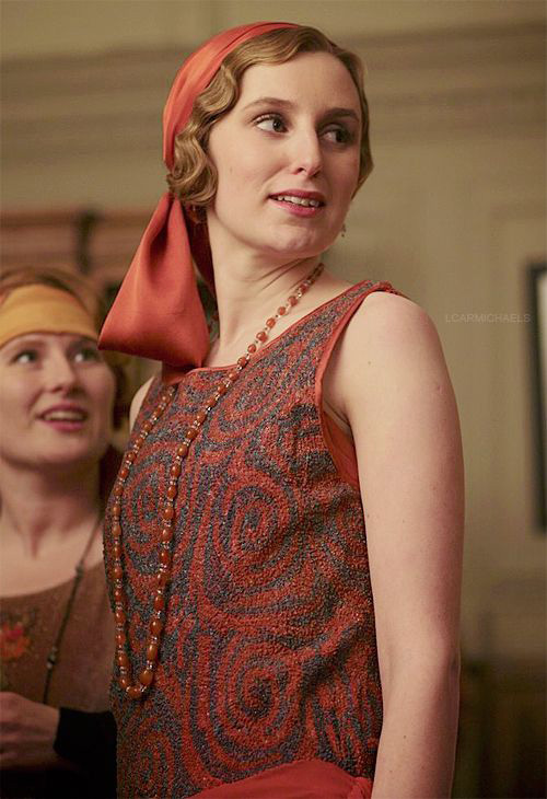 Lady Edith in a silk headscarf