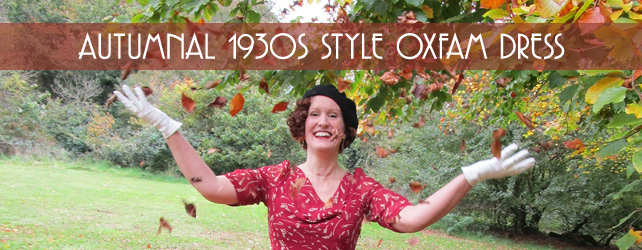 Autumnal 1930s style Oxfam dress