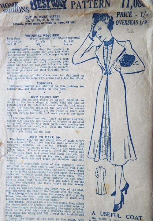 1930s Bestway coat pattern