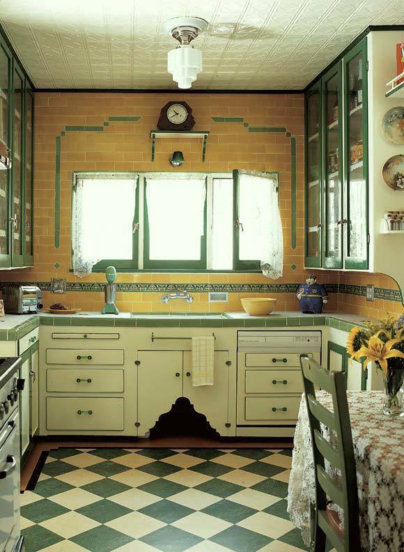 1930s interiors weren t all black gold and drama art deco kitchen with ceramic tiles creating the elegant