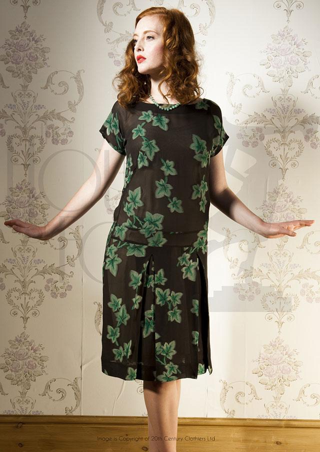 1920s Ivy Queen Silk Dress