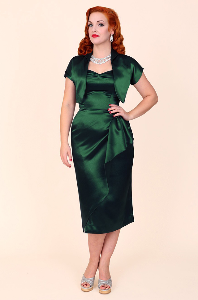 1940s Green Satin Sarong Dress