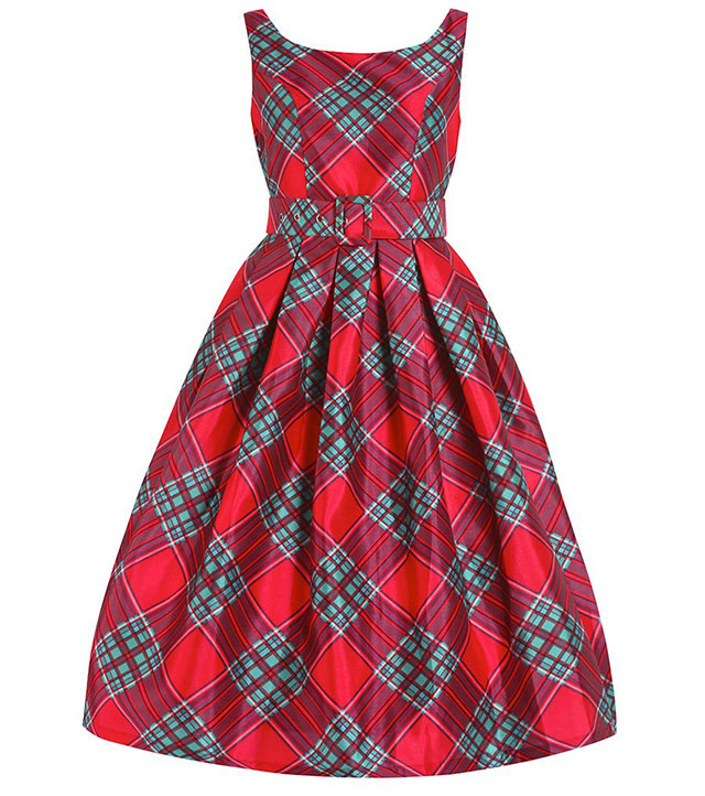 Evelana Red Tartan Party Dress