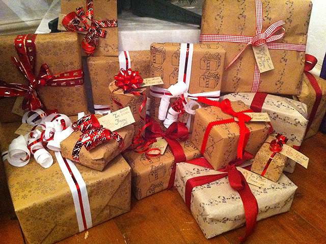 Self Stamped Christmas Wrapping
