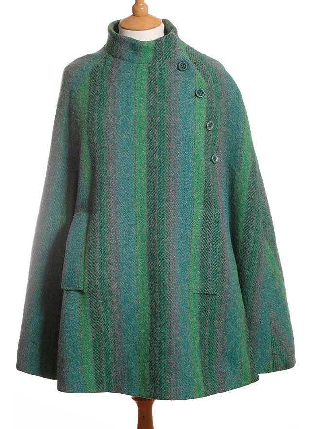 1970s green wool cape