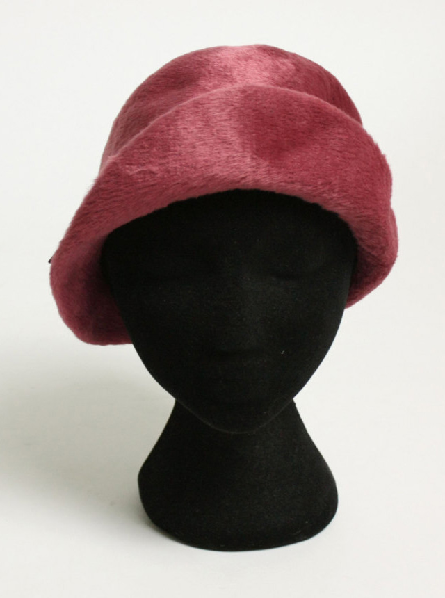 1970s burgundy fur cloche