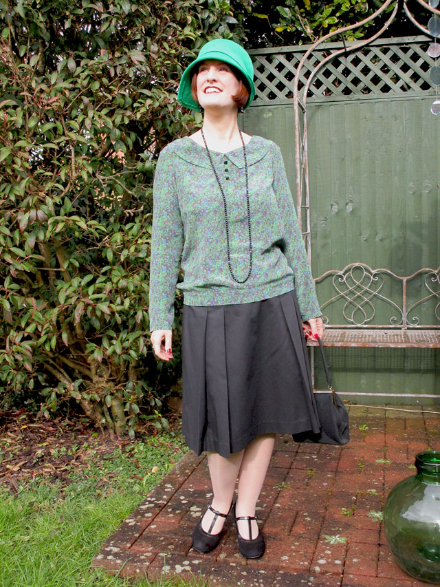1920s silk blouse and pleated skirt