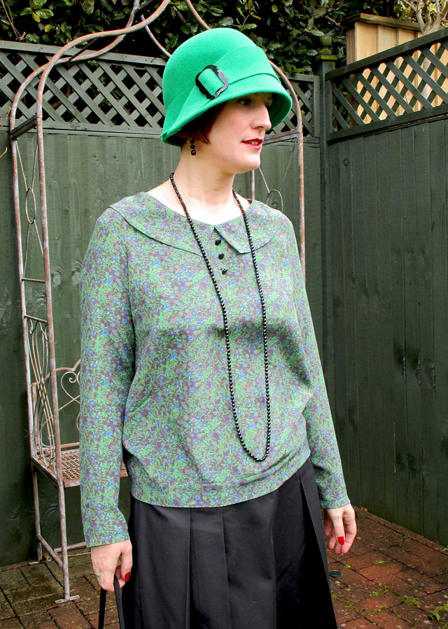 1920s green and purple silk blouse