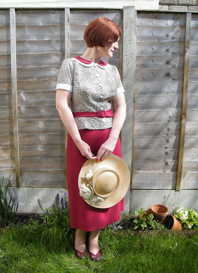 1930s burgundy outfit