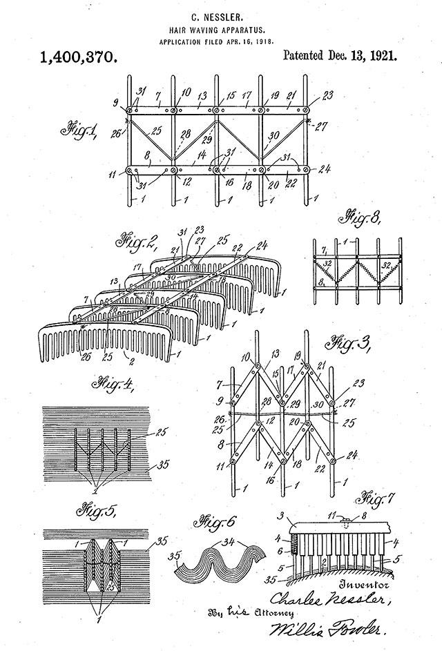Charles Nessler hair waving patent, 1921