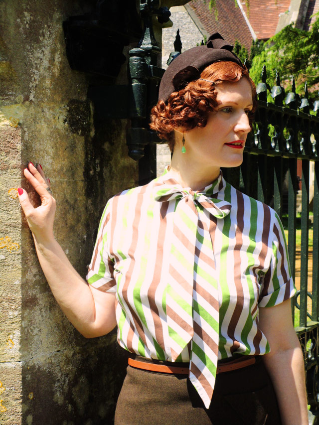 Green and brown stripe vintage blouse