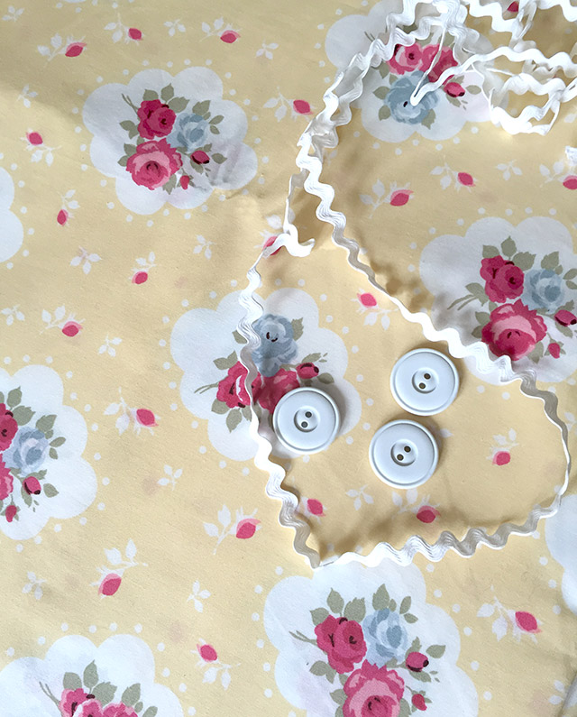 Yellow floral cotton fabric