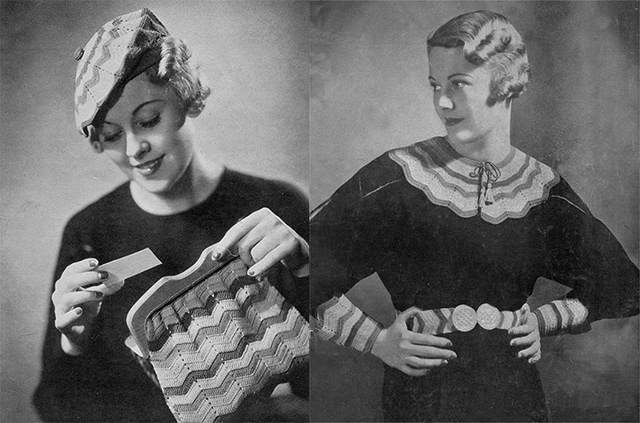 1930s hat, bag, collar, cuffs and belt crochet pattern