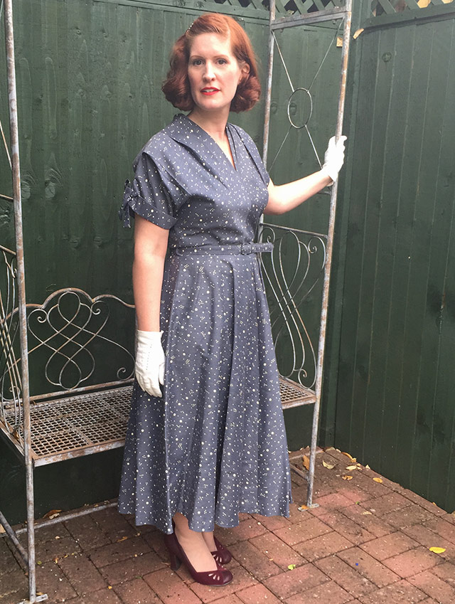 True Vintage Late 1940s Spotty Dress