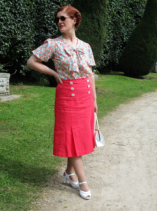 1930s coral skirt & blouse