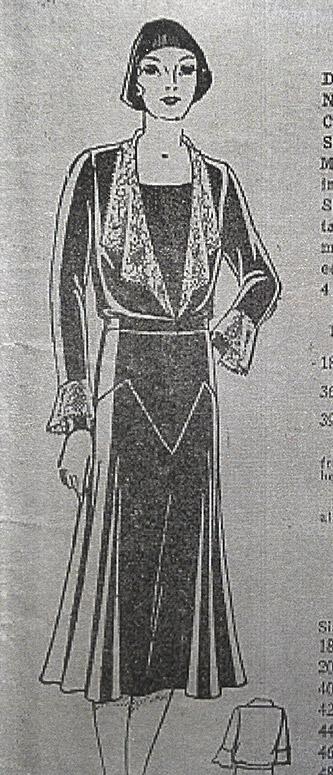 Dress sewing pattern, 1930