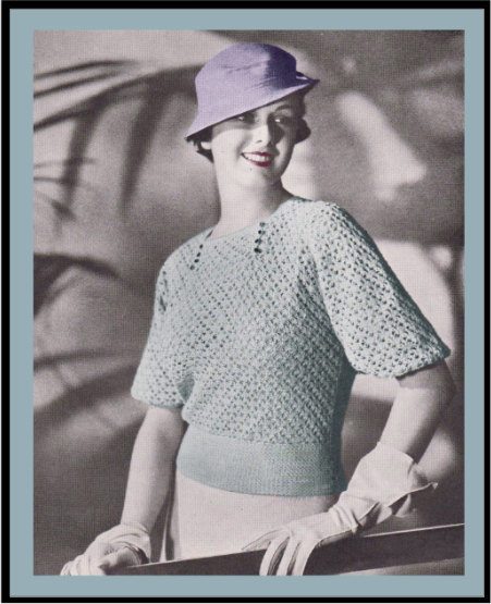 1930s bell sleeve crochet jumper