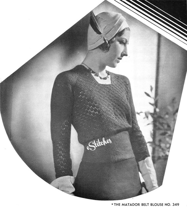 1930s matador belt crochet jumper