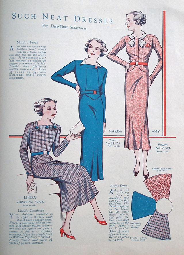 1934 long sleeve dresses