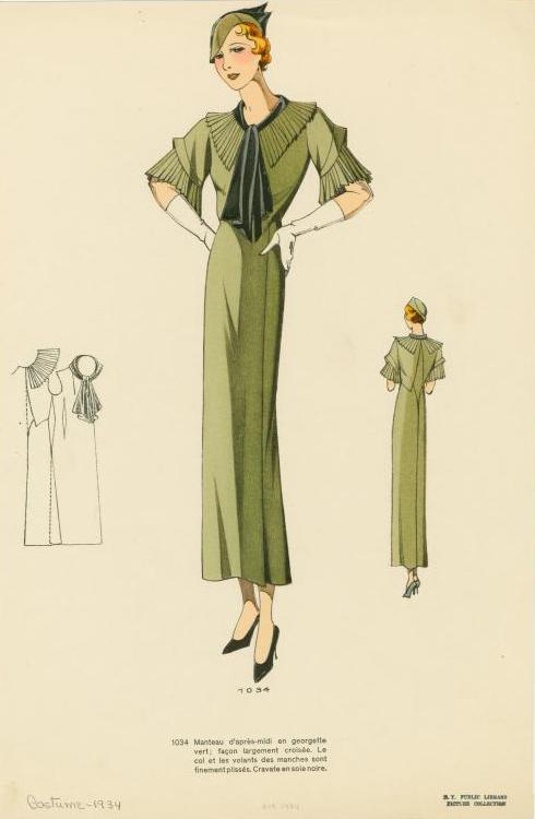 1934 pleated sleeves