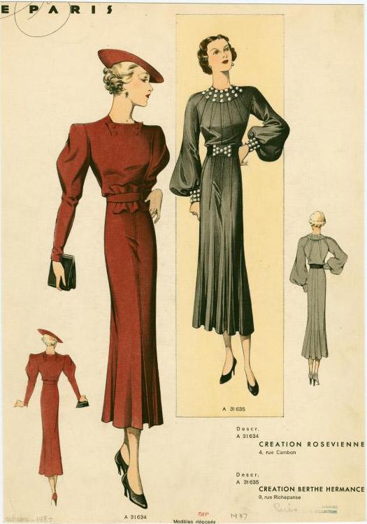 1937 big sleeve dresses