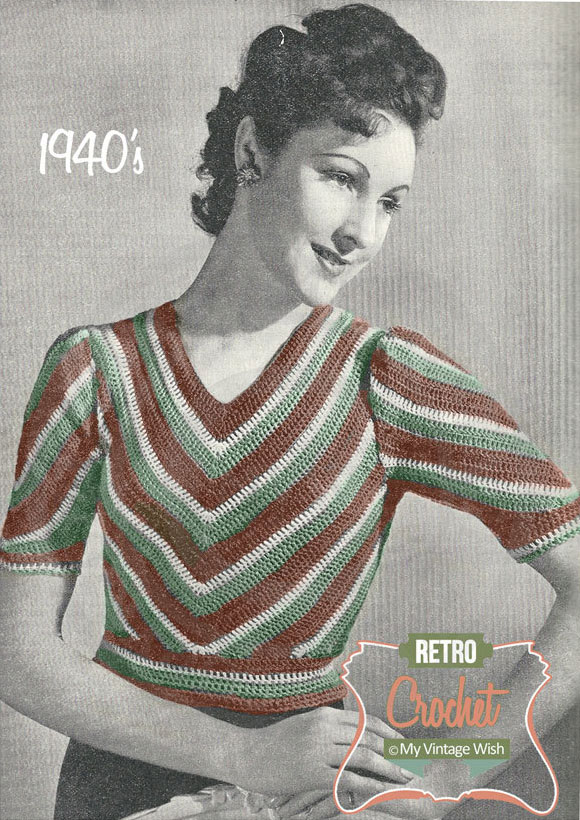 1940s chevron crochet jumper