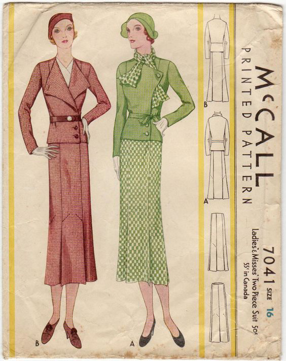 1930s 2 piece suit McCall 7041
